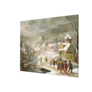 A Winter Landscape with Travellers on a Path Canvas Print