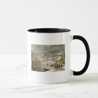A Winter Landscape with Travellers on a Path Mug