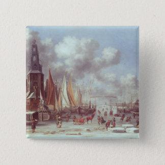 A Winter Scene in Amsterdam 15 Cm Square Badge