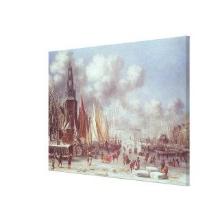 A Winter Scene in Amsterdam Canvas Print