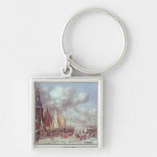 A Winter Scene in Amsterdam Silver-Colored Square Key Ring