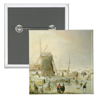 A winter scene with skaters by a windmill 15 cm square badge
