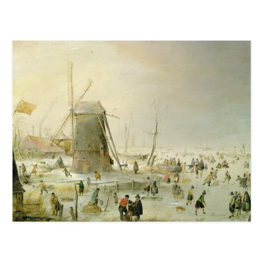 A winter scene with skaters by a windmill postcard