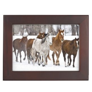 A winter scenic of running horses on The 2 Keepsake Box