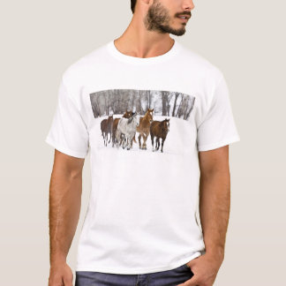 A winter scenic of running horses on The 2 T-Shirt
