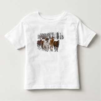 A winter scenic of running horses on The 2 T Shirts