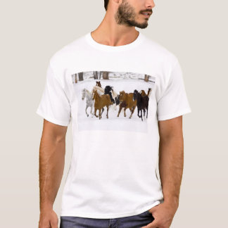 A winter scenic of running horses on The T-Shirt