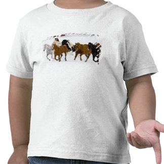 A winter scenic of running horses on The T Shirt