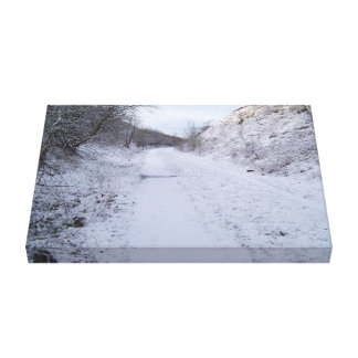 A winter snow scene stretched canvas prints