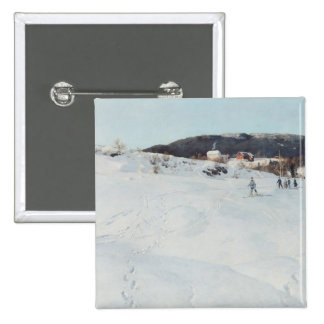 A Winter's Day in Norway, 1886 15 Cm Square Badge