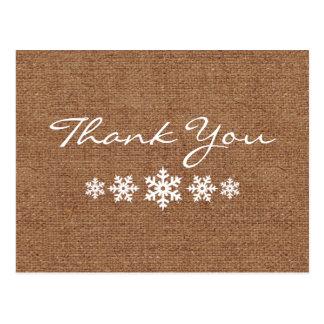 A Wintery Snowflake Thank You Postcard