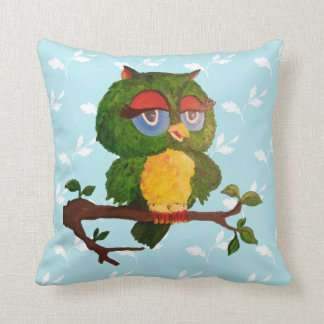 A Wise Old Owl Sitting On A Tree Branch Cushion
