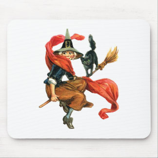 A Witch Flies on Her Broom with her Black Cat Mouse Mat