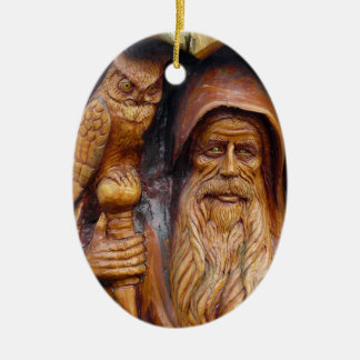A Wizard and Owl Emerge From Cavern Ceramic Oval Decoration