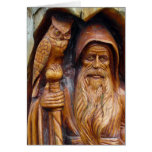 A Wizard and Owl Emerge From Cavern Greeting Card