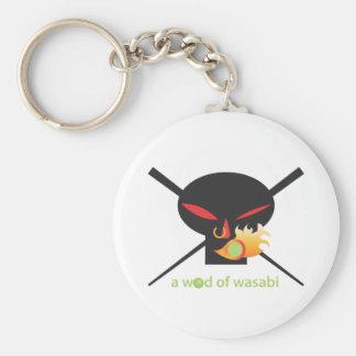 A Wod of Wasabi - Black Skull no spray Basic Round Button Key Ring