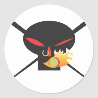 A Wod of Wasabi - Black Skull no spray Round Sticker