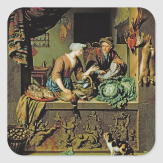 A Woman and a Fish Peddler, 1713 (oil on panel) Square Sticker