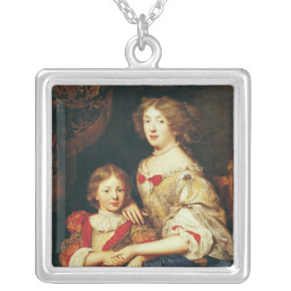 A Woman and her Son Silver Plated Necklace