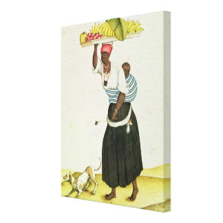 A Woman Carrying a Tray of Fruit on her Head Canvas Print