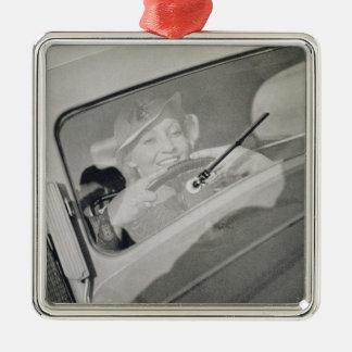 A woman driving, c.1930s (photogravure) christmas ornament