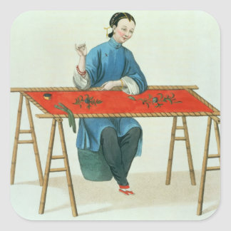 A Woman Embroidering, plate 41 from 'The Costume o Square Sticker