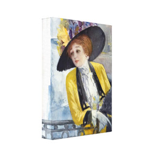 A Woman in 1900 Paris Stretched Canvas Print