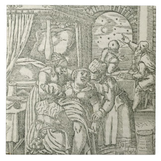 A Woman in Labour, illustration from chapter 2, Bo Large Square Tile