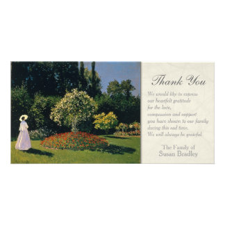 A Woman in the Garden Sympathy Thank You Card Customised Photo Card
