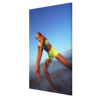 A woman playing volleyball. canvas print