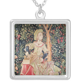 A Woman Spinning Silver Plated Necklace