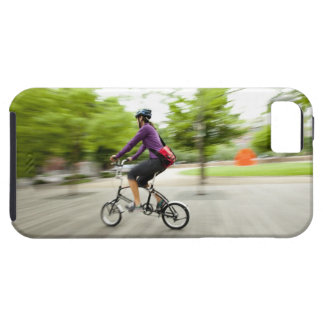 A woman using a folding bike to commute case for the iPhone 5