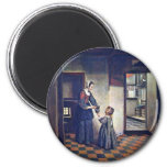 A Woman With A Child In A Pantry. [1] By Pieter De 6 Cm Round Magnet