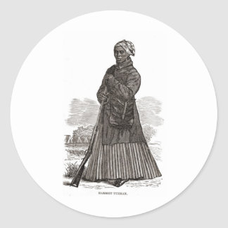 A woodcut image of Harriet Tubman, before 1869 Classic Round Sticker