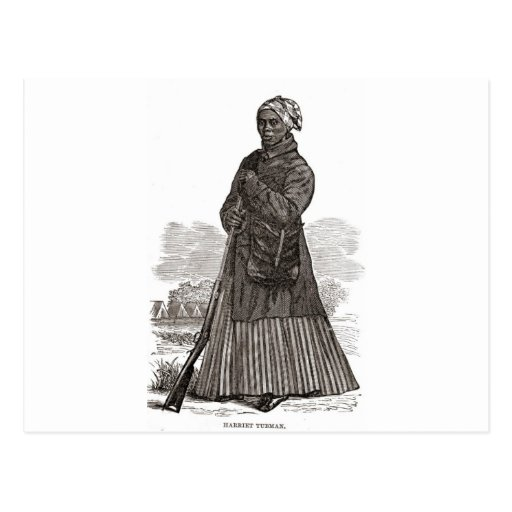 A woodcut image of Harriet Tubman, before 1869 Post Card