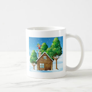 A wooden house with a playful elf at the rooftop basic white mug