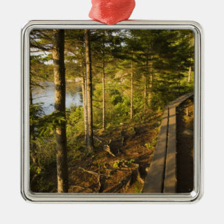 A wooden walkway in Acadia National Park Maine Christmas Ornament