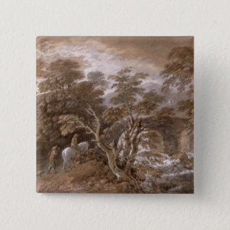 A Woodland Pool with Rocks and Plants, c.1765-70 ( 15 Cm Square Badge