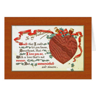 a woodworker carpenter Valentine with wooden heart Greeting Card
