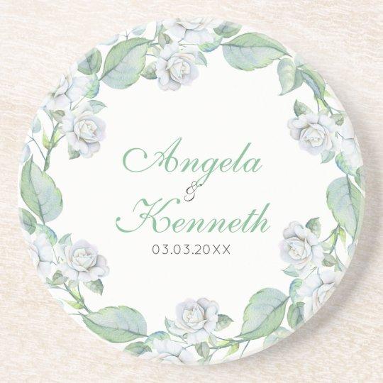 A Wreath Of White Roses Coaster