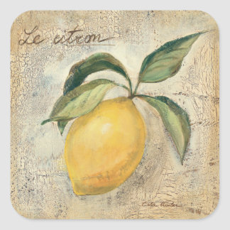 A Yellow Lemon Fruit Square Sticker