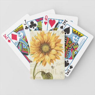 A Yellow Sunflower Bicycle Playing Cards