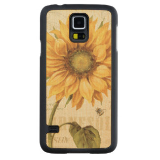 A Yellow Sunflower Carved Maple Galaxy S5 Case