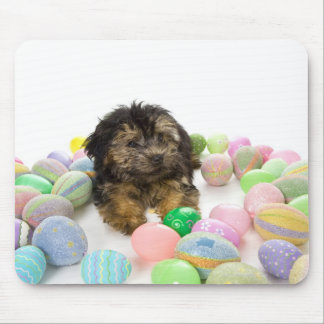 A Yorkie-poo puppy and Easter eggs. Mouse Mat