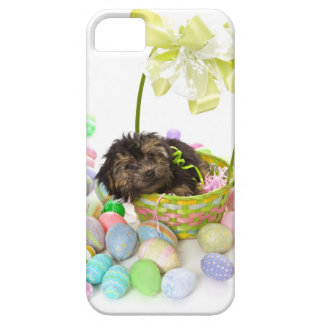 A Yorkie-poo puppy encountering an Easter basket iPhone 5 Cover