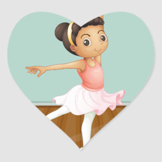 A young ballet dancer dancing above the rug heart sticker