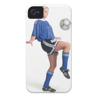 a young blonde caucasian female in a blue soccer iPhone 4 Case-Mate cases
