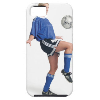 a young blonde caucasian female in a blue soccer iPhone 5 case