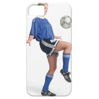 a young blonde caucasian female in a blue soccer iPhone 5 covers