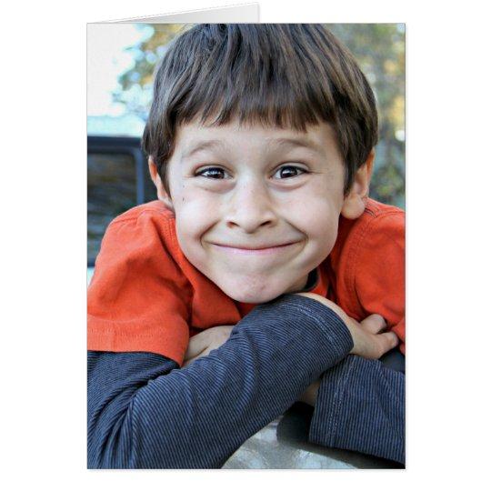 A young boy flirting card